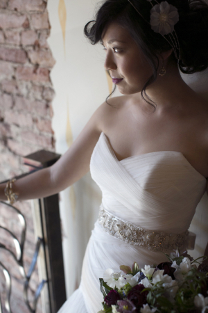 Strapless Bridal Gown With Beaded Waist