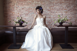 Strapless Bridal Gown With Cascading Floral Bodice