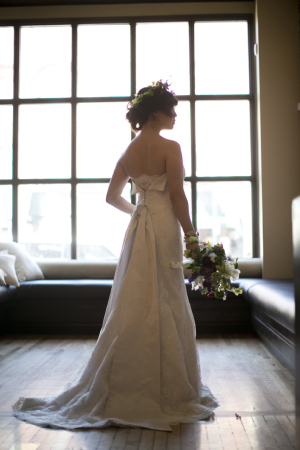 Strapless Bridal Gown With Folded Back Detailing