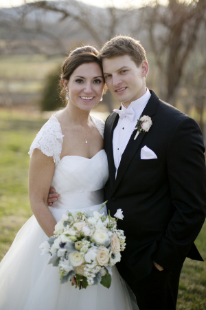 Strapless Bridal Gown With Lace Jacket