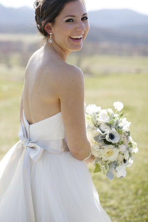 Strapless Bridal Gown With Satin Ribbon Bow