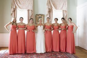 Strapless Coral Bridesmaids Dresses