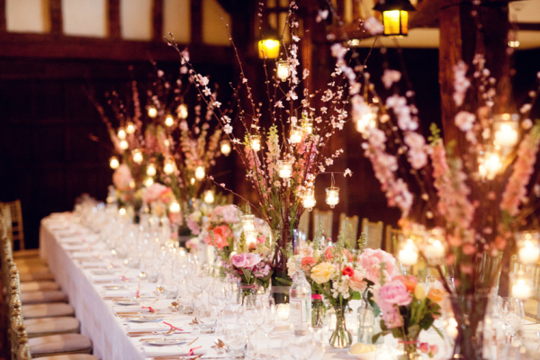 Tall Floral Arrangements With Hanging Votives