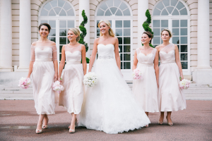 Tea Length Blush Bridesmaids Dresses