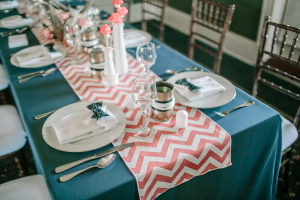 Teal and Coral Reception Linens
