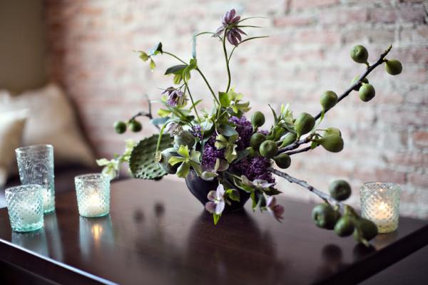 Tropical Green and Purple Flower Arrangement