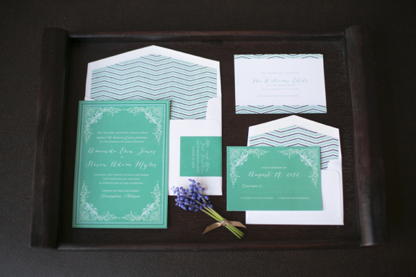 Turquoise and Lavender Stationery Suite