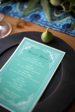 Vibrant Turquoise and White Menu Card