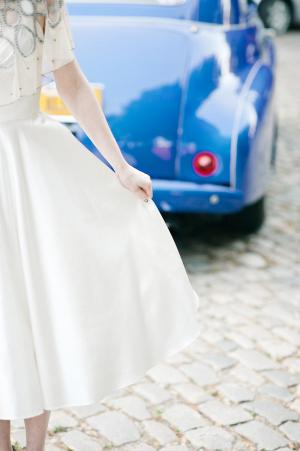 Vintage Bridal Dress With Satin Skirt