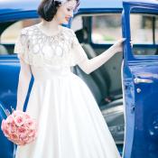 Vintage Bridal Portrait With Antique Blue Car