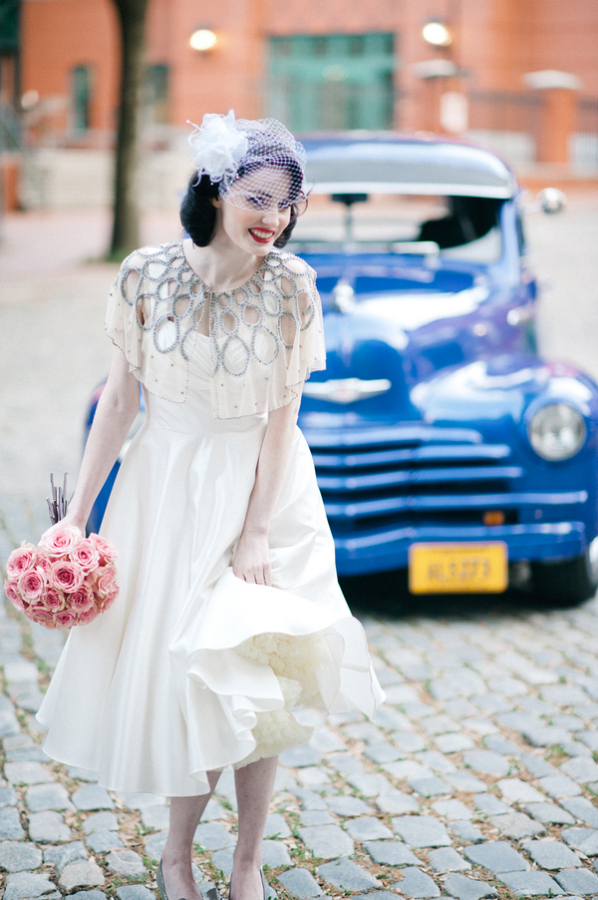 Vintage Bridal Portrait on Cobblestone Street
