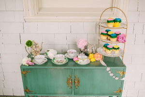Vintage Teacups on Green Buffet