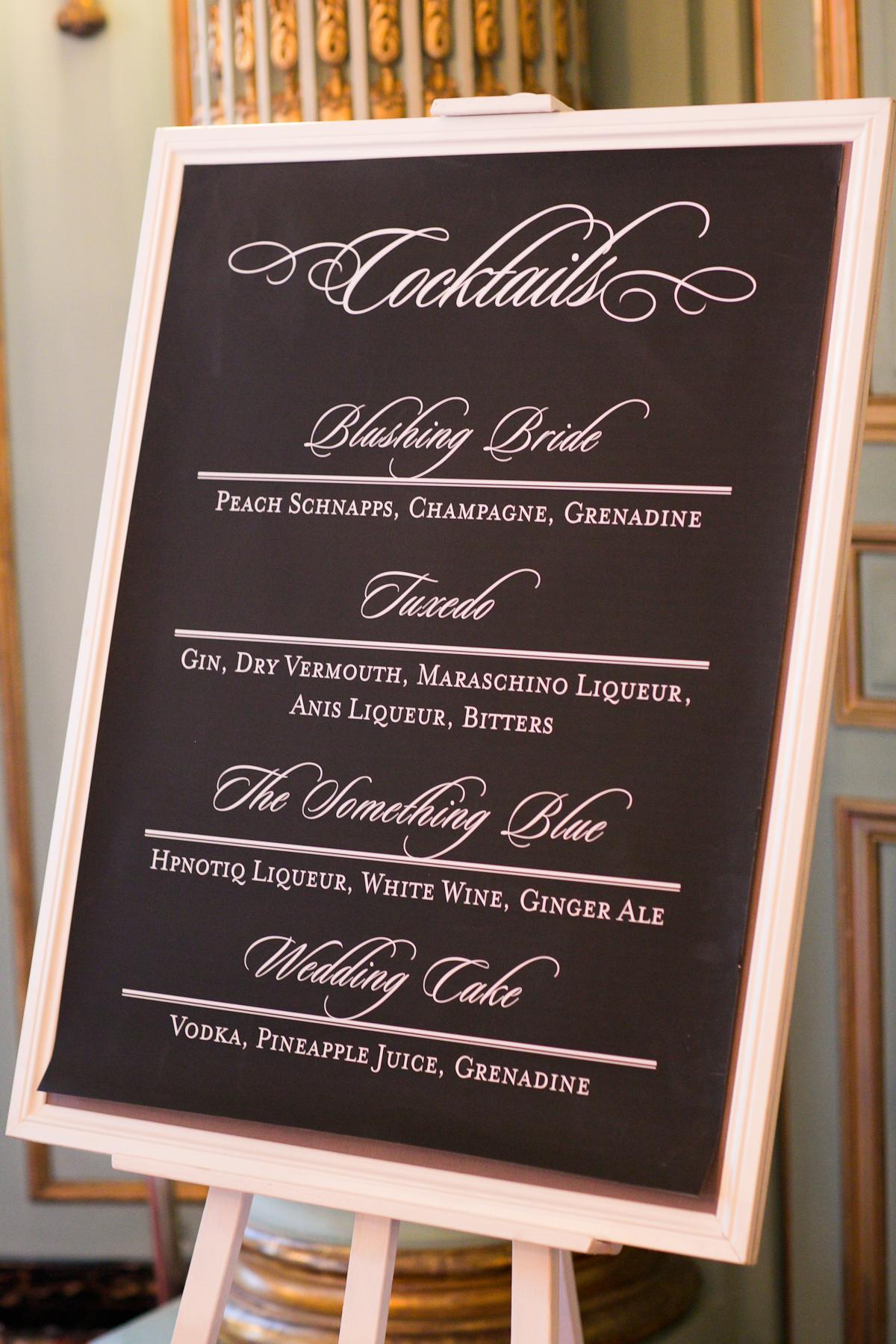 Wedding Cocktail Menu Board Elizabeth Anne Designs The