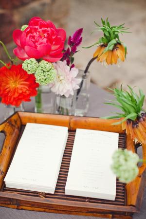 Wedding Programs on Bamboo Trays