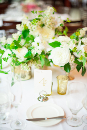 White Green Gold Spring Tabletop