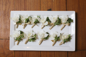 White and Gold Boutonnieres