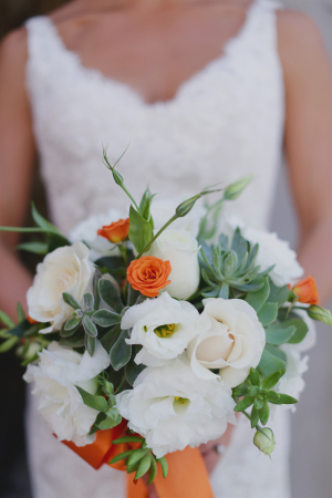 White and Orange Flower and Succulent Bouquet