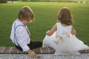 White and Taupe Flower Girl Dress
