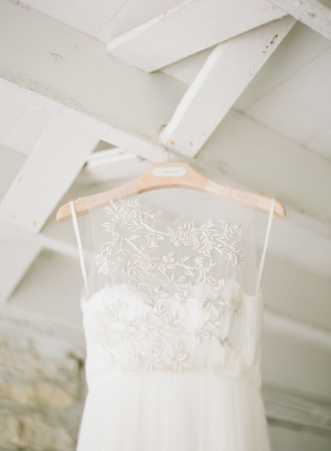 Appliqued Lace Overlay on Bridal Gown