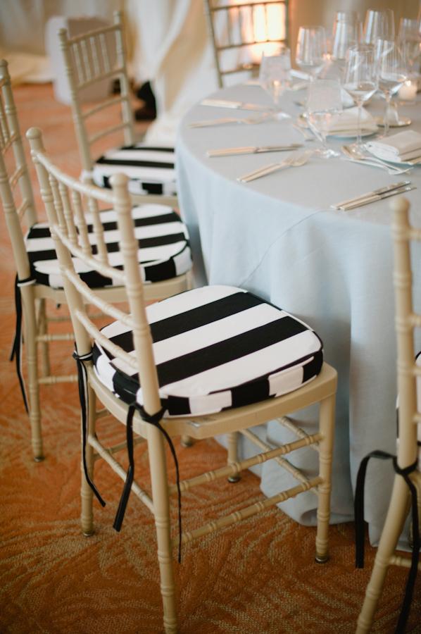 Black and White Striped Chair Cushions