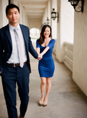 Blue Dress and Suit in Engagement Photos