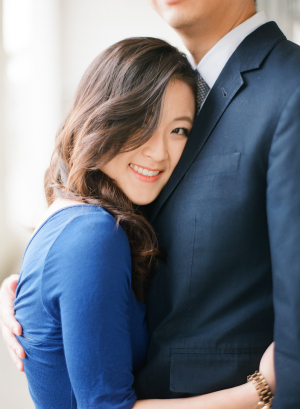 Blue Dress in Engagement Portrait From Christine Choi