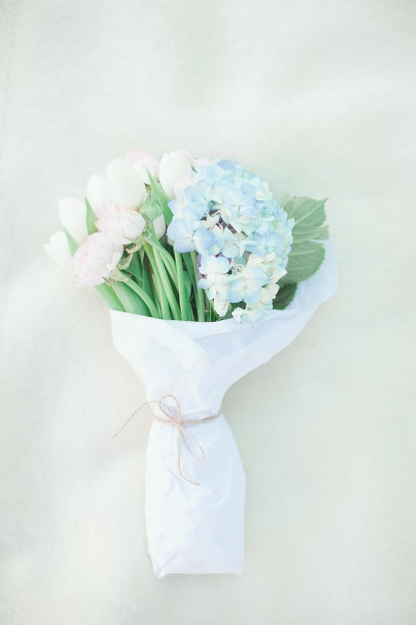 Blue hydrangea and white tulip bouquet elizabeth anne