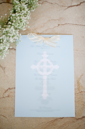 Blue Wedding Program With Cross