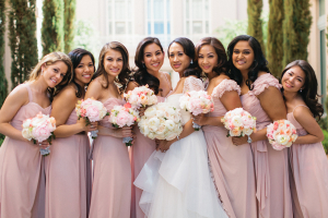 Blush Bridesmaids Dresses With Sashes