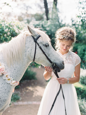 Bohemian Bride With White Horse