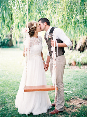 Bohemian Bride and Groom by Tree Swing