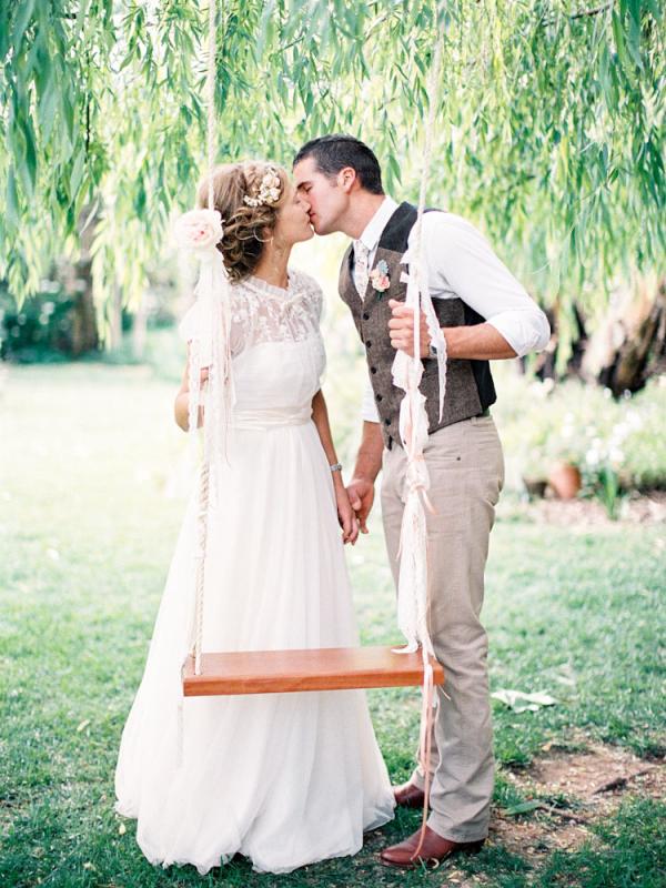 Bohemian Bride and Groom by Tree Swing