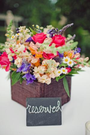 Bold Flower Arrangement in Wooden Box