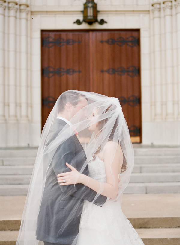 Bride and Groom Veil Portrait