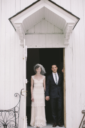 Bride and Groom at Little White Church