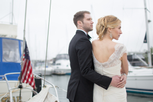 Bride and Groom on Sailboat