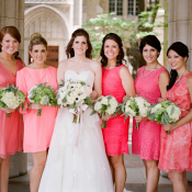 Bright Coral Bridesmaids Dresses