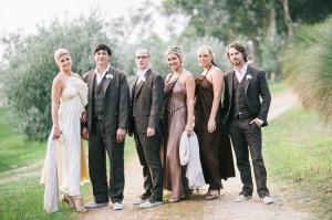 Brown Gray Bridal Party