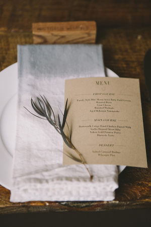 Brown Paper Casual Reception Menu Card