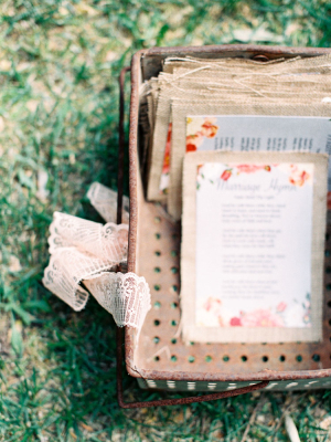 Burlap and Floral Wedding Programs