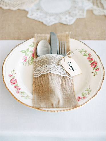 Burlap and Lace Flatware Holder