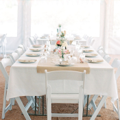 Burlap and White Vintage Table Decor
