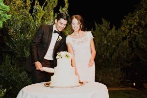 Cake Cutting Outdoor Wedding