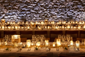 Candle and Glassware Centerpiece