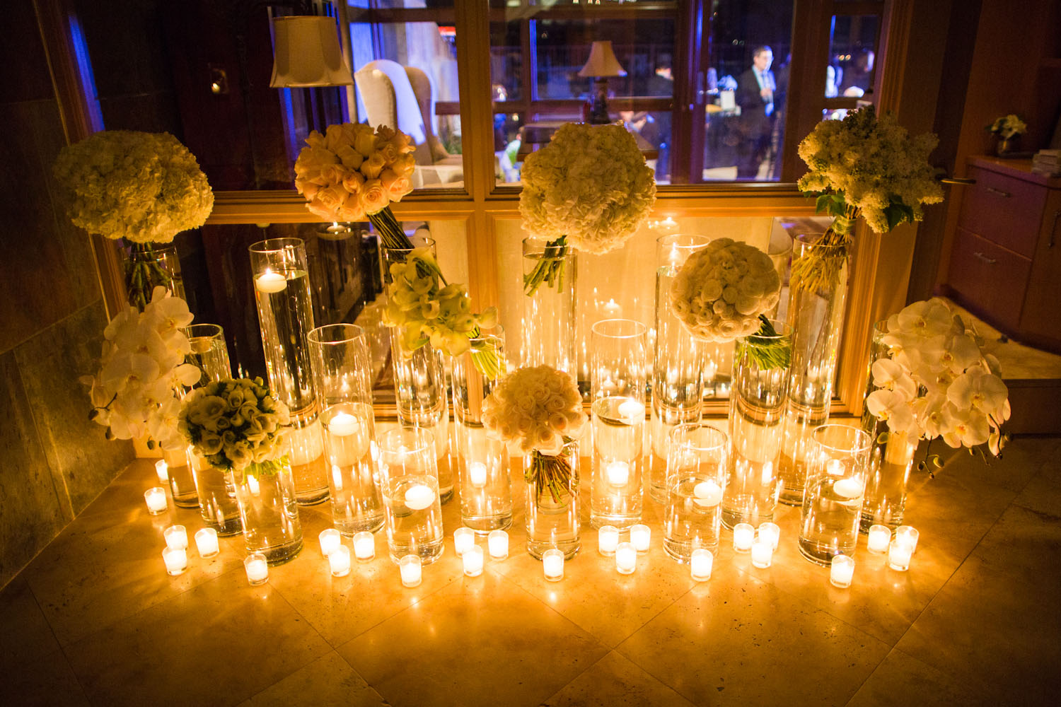Candle And White Bouquet Reception Decor Elizabeth Anne