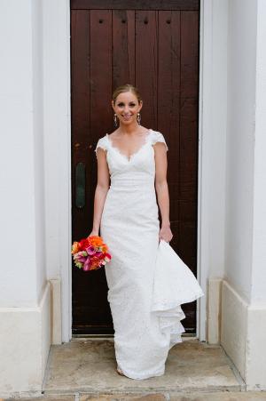 Cap Sleeve Column Style Wedding Gown