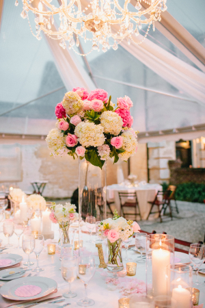 Chandelier in Tent Reception Ideas