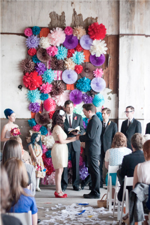 Colorful Paper Pinwheel Ceremony Backdrop