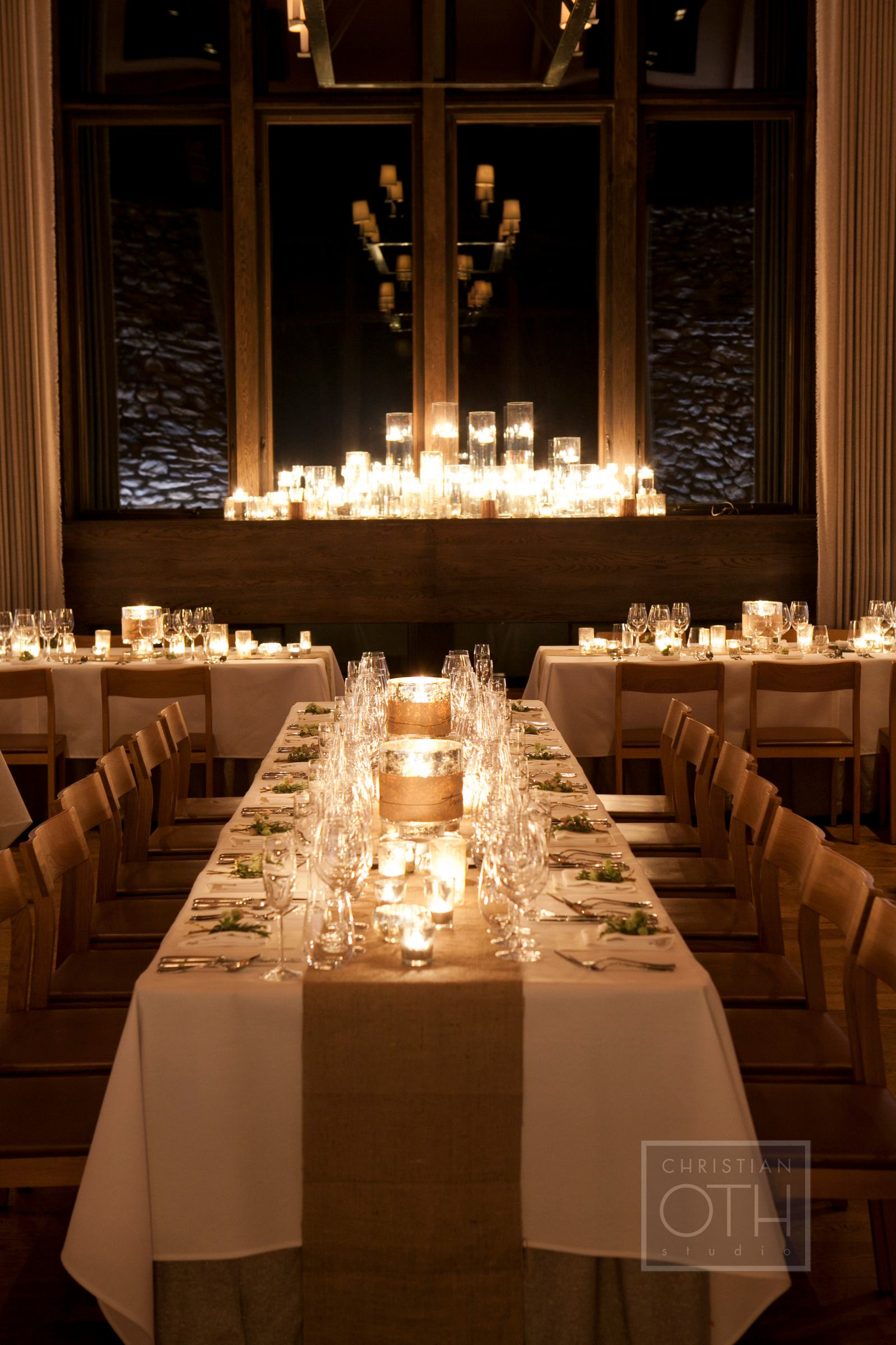 Cream Burlap and Candle Reception Decor - Elizabeth Anne Designs ...