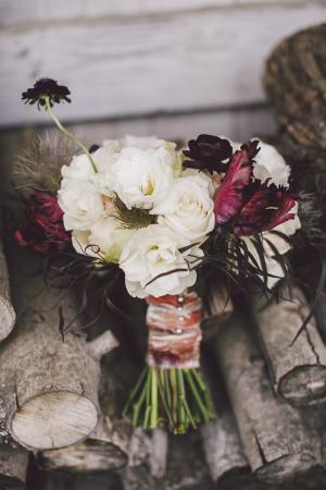 Cream and Jewel Tone Bridal Bouquet